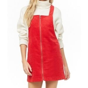 Forever 21 Corduroy Overall Red Mini Dress Cosplay